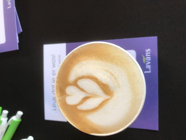 Latte art door onze barista op locatie bij Lavans